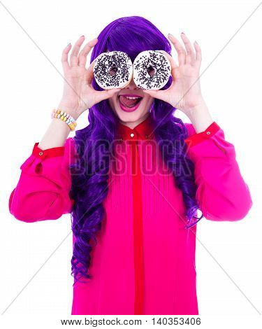 Surprised Woman With Purple Hair Covering Her Eyes With Donuts Isolated On White