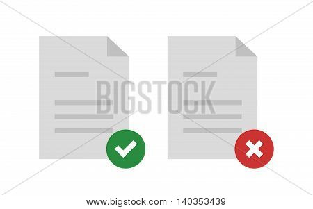 Approved and rejected document. Document icon. Vector illustration.