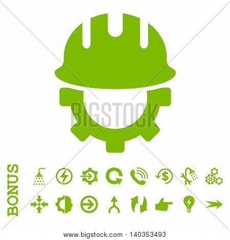 Development Hardhat vector icon. Image style is a flat iconic symbol, eco green color, white background.