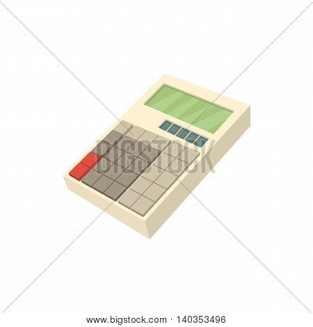 Calculator icon in cartoon style isolated on white background. Calculations symbol