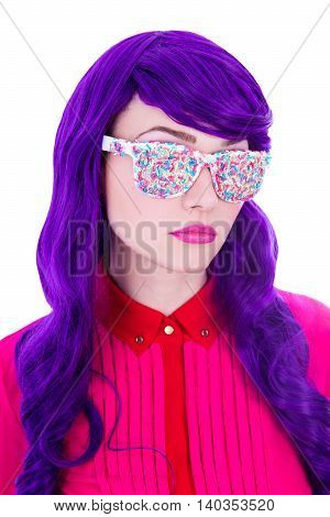 Beautiful Woman With Purple Hair And Glasses Covered By Colorful Sugar Candies Isolated On White