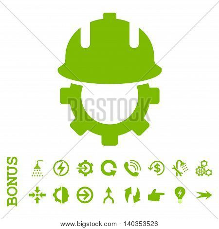 Development Helmet vector icon. Image style is a flat iconic symbol, eco green color, white background.