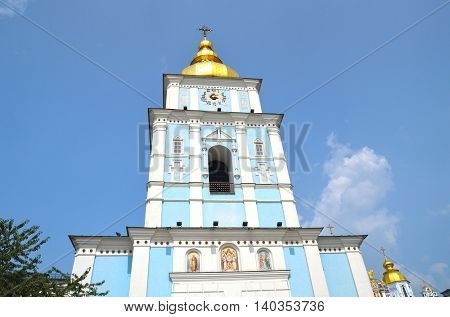 St Michaels golden domed monastery.Belltower.July 26, 2016 Kiev, Ukraine