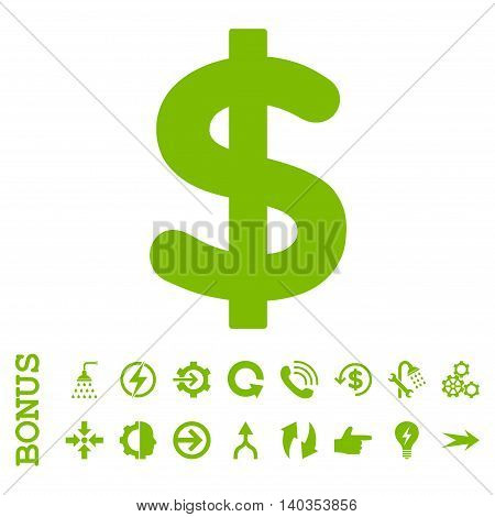 Dollar vector icon. Image style is a flat iconic symbol, eco green color, white background.
