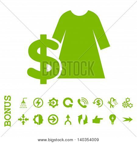 Dress Price vector icon. Image style is a flat pictogram symbol, eco green color, white background.