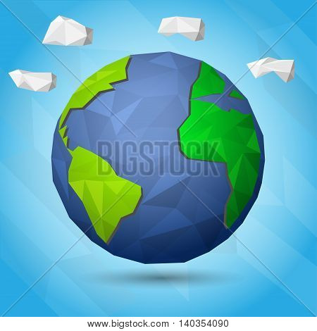 Earth illustration in Low poly,  vector illustration.