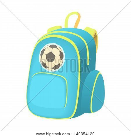 School backpack icon in cartoon style isolated on white background. Rucksack symbol