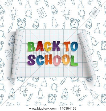 Back to school curved banner on squared paper with hand drawn school tools. Vector illustration.