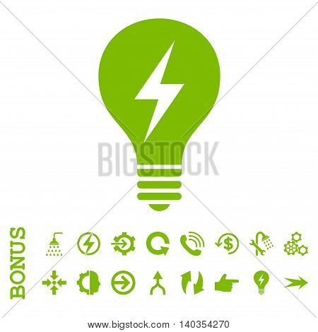Electric Bulb vector icon. Image style is a flat pictogram symbol, eco green color, white background.