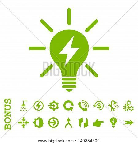 Electric Light Bulb vector icon. Image style is a flat iconic symbol, eco green color, white background.