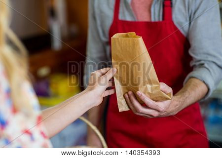 Mid section of male staff giving the paper bag to woman in supermarket