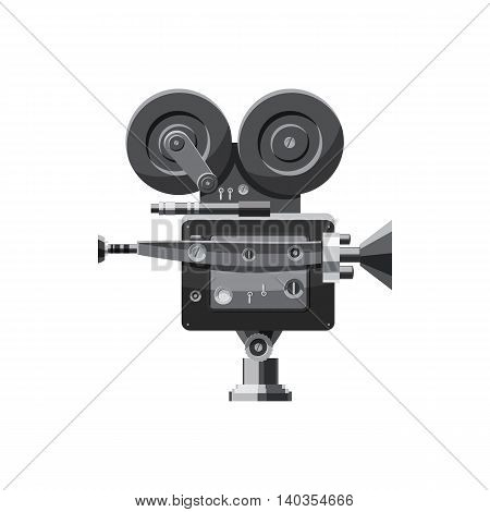 Retro camera icon in cartoon style isolated on white background. Video symbol