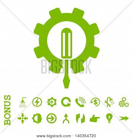 Engineering vector icon. Image style is a flat iconic symbol, eco green color, white background.