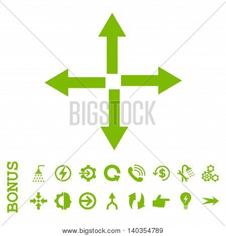 Expand Arrows vector icon. Image style is a flat iconic symbol, eco green color, white background.