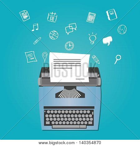 content writer as copywriter with typewriter vector illustration