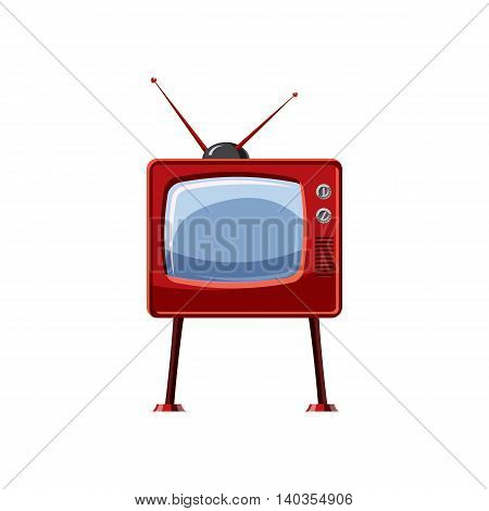 Retro TV icon in cartoon style isolated on white background. Technique symbol