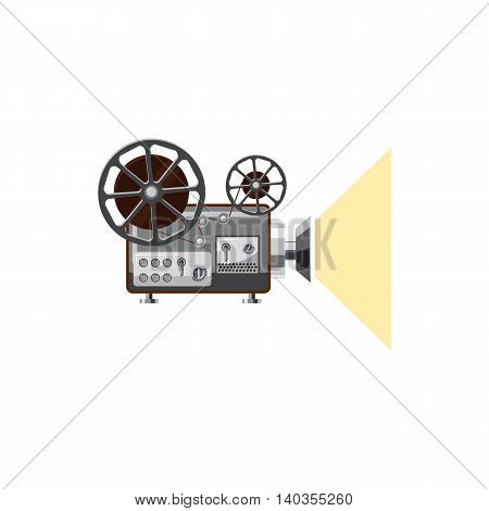 Retro movie projector icon in cartoon style isolated on white background. Video symbol