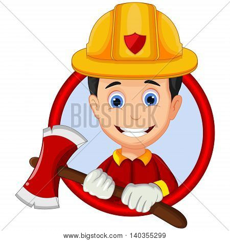 firefighters cartoon in the frame for you design