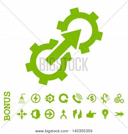 Gear Integration vector icon. Image style is a flat pictogram symbol, eco green color, white background.