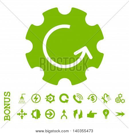 Gear Rotation vector icon. Image style is a flat pictogram symbol, eco green color, white background.