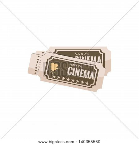 Movie ticket icon in cartoon style isolated on white background. Cinema symbol