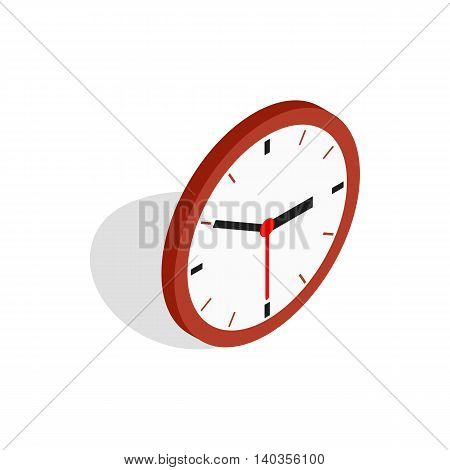 Wall clock icon in isometric 3d style isolated on white background
