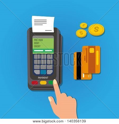 payment with card debit and credit vector illustration
