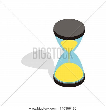 Hourglass clock icon in isometric 3d style isolated on white background