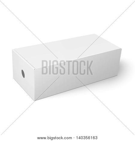 Blank paper or cardboard shoebox template with closed lid and round hole on white background Packaging collection. Vector illustration.