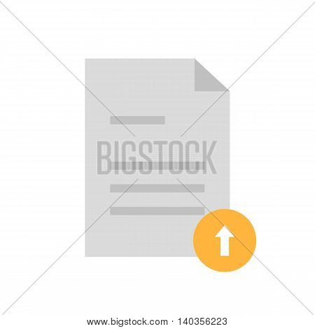 Flat icon upload document with up arrow. Vector illustration.