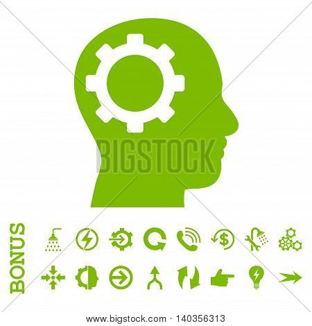 Intellect Gear vector icon. Image style is a flat pictogram symbol, eco green color, white background.