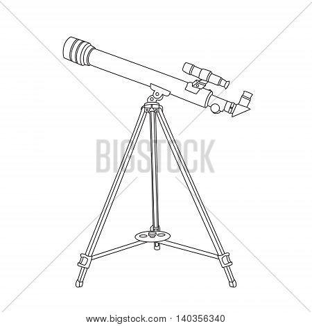 The telescope in hand drawn technique. Vector illustration.