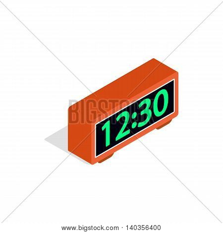 Digital clock icon in isometric 3d style isolated on white background