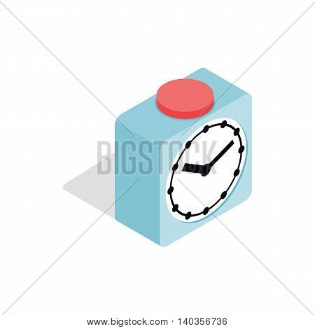 Clock with red button icon in isometric 3d style isolated on white background