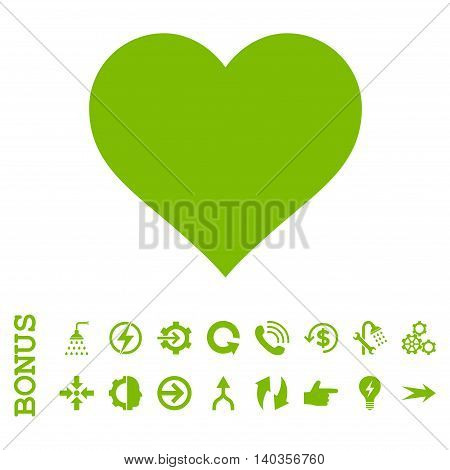 Love Heart vector icon. Image style is a flat pictogram symbol, eco green color, white background.