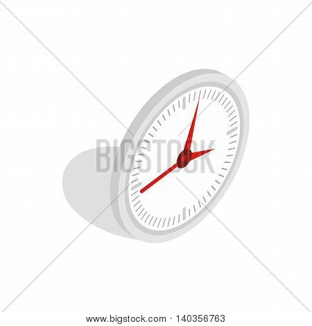 White office clock icon in isometric 3d style isolated on white background