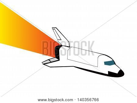 Space shuttle isolated on white background. Vector illustration eps 10.