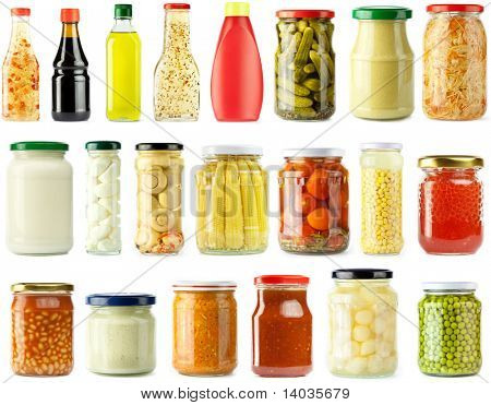 Preserved, pickled vegetables and food ingredients set, isolated