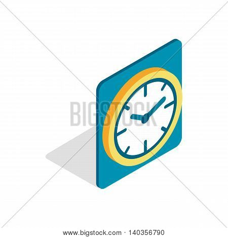 Wall color clock icon in isometric 3d style isolated on white background