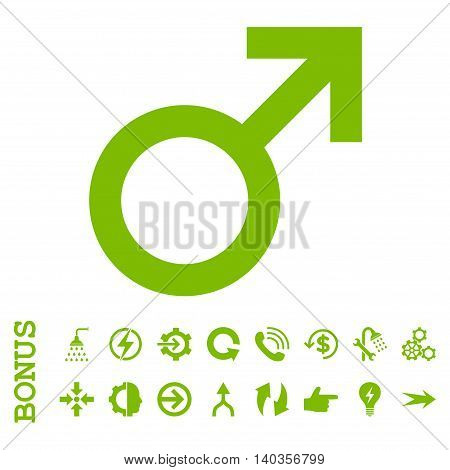 Male Symbol vector icon. Image style is a flat iconic symbol, eco green color, white background.