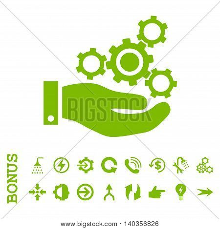 Mechanics Service vector icon. Image style is a flat pictogram symbol, eco green color, white background.