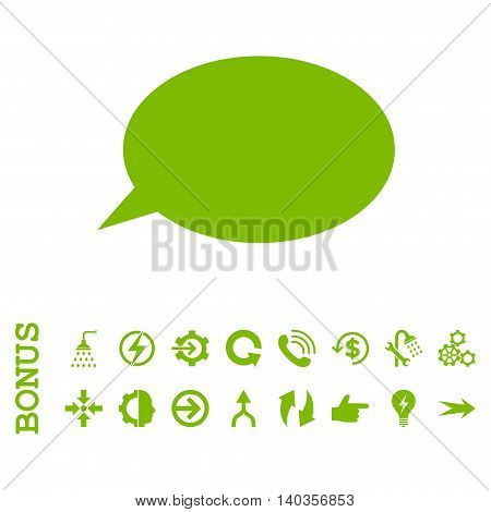 Message Cloud vector icon. Image style is a flat iconic symbol, eco green color, white background.