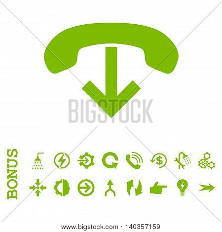 Phone Hang Up vector icon. Image style is a flat iconic symbol, eco green color, white background.