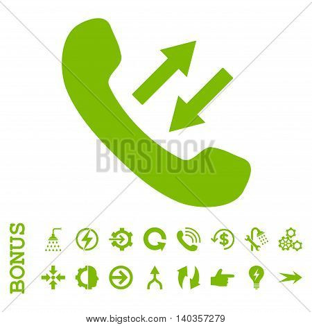 Phone Talking vector icon. Image style is a flat pictogram symbol, eco green color, white background.