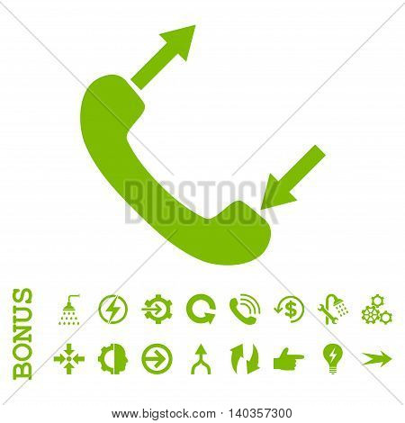 Phone Talking vector icon. Image style is a flat iconic symbol, eco green color, white background.