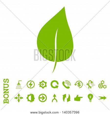 Plant Leaf vector icon. Image style is a flat pictogram symbol, eco green color, white background.