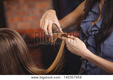 Female getting her hair trimmed at a salon