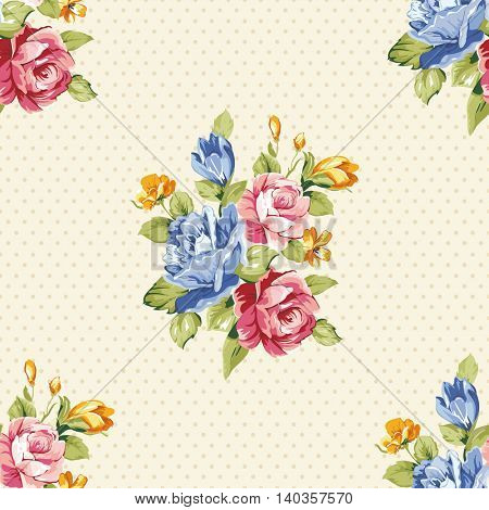 Seamless floral pattern with blue and pink roses Vector Illustration EPS8