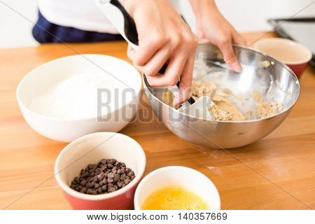 Mixing paste inside bowl