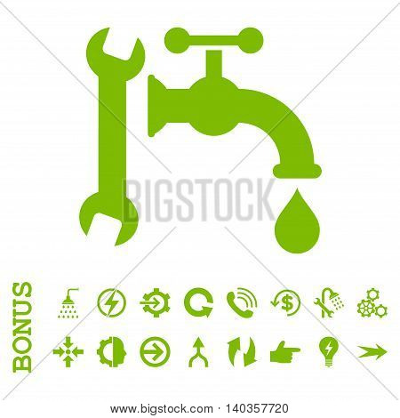 Plumbing vector icon. Image style is a flat iconic symbol, eco green color, white background.